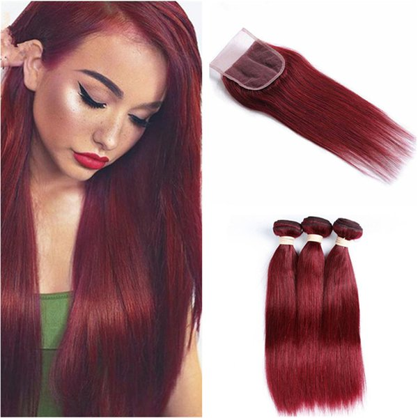 Pure Color 99j Straight Hair Bundles with Lace Closure Brazilian Burgundy Virgin Hair Weaves with Top Closure Wine Red Hair