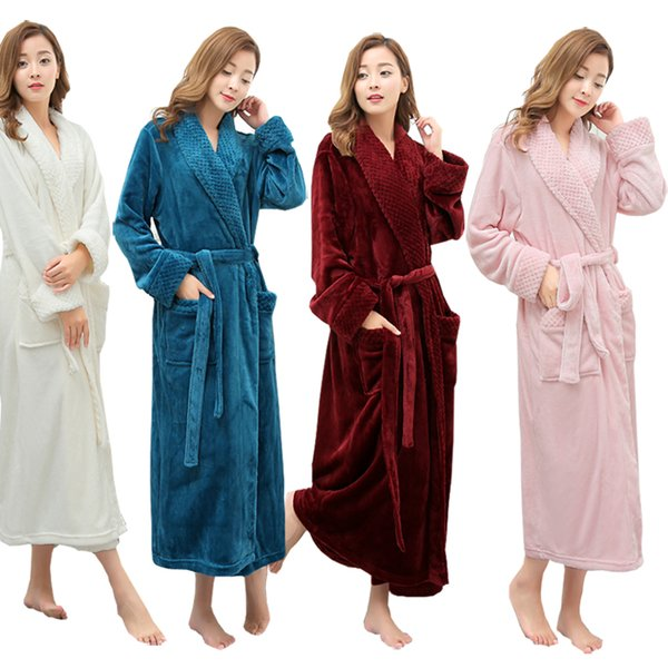 Venta al por mayor - Mujeres vendedoras Súper Suave Invierno Cálido Largo Traje de baño Amantes Kimono Albornoz Hombres Bata Novia Boda Vestidos de dama de honor