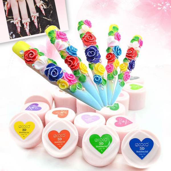 Wholesale-New Fashion Nail Art Beauty Painting Gel 3D Carving Gel 24 Colors UV LED Modeling Sculpture Gel Powder Nail Manicure Tools