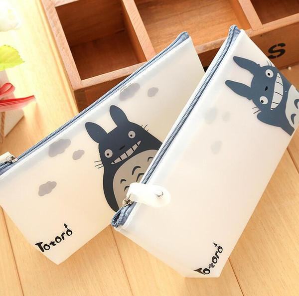 Cute Kawaii Cartoon Totoro Pencil Case Jelly Glue Japanese Anime Pen Bags For Kids Gift School Supplies 10pcs Free Shipping