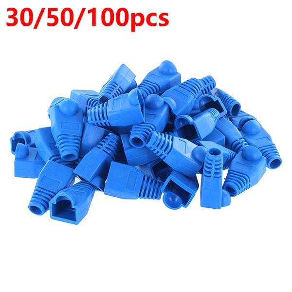 Wholesale- 30/50/100x 8P RJ45 Connector Cat 5 5e 6 RJ45 Plug Cap Ethernet Network Cable Strain Relief Boot RJ45 plug Socket Boot Blue HY202