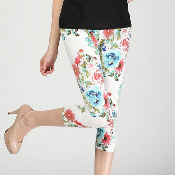 2b2ccace5b3c1 Wholesale- lady short slim leggings floral daisy flower pencil capris  fitted short legging women summer