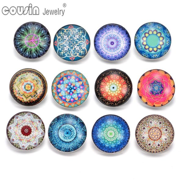 KZ0294 12pcs/lot Mixed Colors Exotic 18mm snap button Jewelry Faceted Glass Snap Fit DIY Bracelet&Bangles Snaps Jewelry