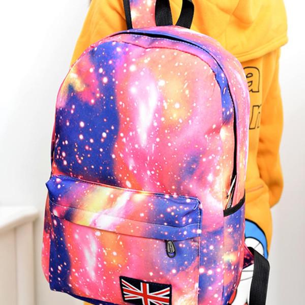 Wholesale- Fashion Unisex Stars Universe Space Printing Backpack School Book Backpacks British-flag Shoulder Bag LT88