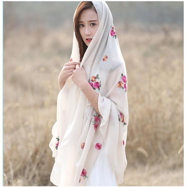 2017 Japanese Ethnic Style Embroidered ladies Women Scarves and Shawls Fashion Design Artistic Bandana and Pashmina brand shawl