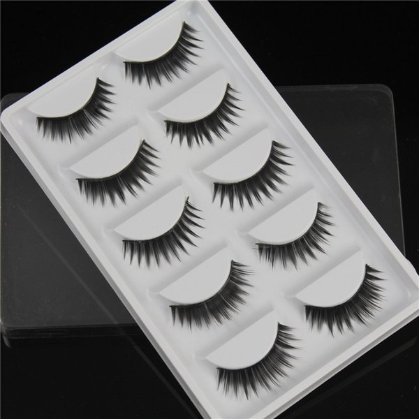 New False eyelashes 5 pairs of fan-shaped long paragraph natural curling up the eyelashes W38 Smokey Makeup Eye Lashes wholesale