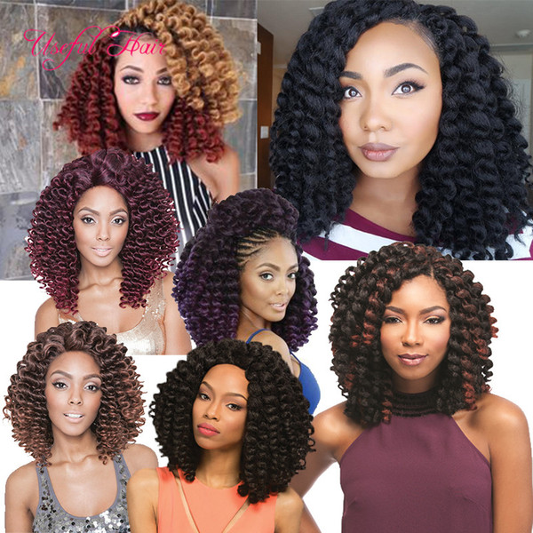 top popular 8'' Jumpy Wand Curls Crochet Braiding Hair Janet Curly Synthetic Crochet Hair Braids Jamaican Bounce Twist Braid Hair Extensions black women 2020