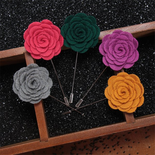 BoYuTe 10Pcs 18 Colors Vintage Fabric Flower Brooch Handmade Fashion Lapel Pin for Men Wedding Jewelry