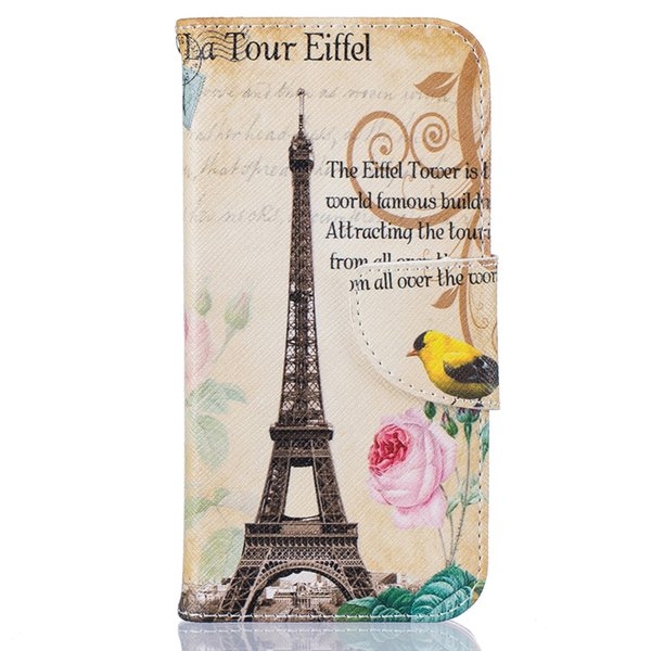 Eiffel Tower Wallet Leather Case For Iphone X 5 6S 7 7 Plus Back Stand Holder Credit Card Holder Slot Phone Bags Cases Flower