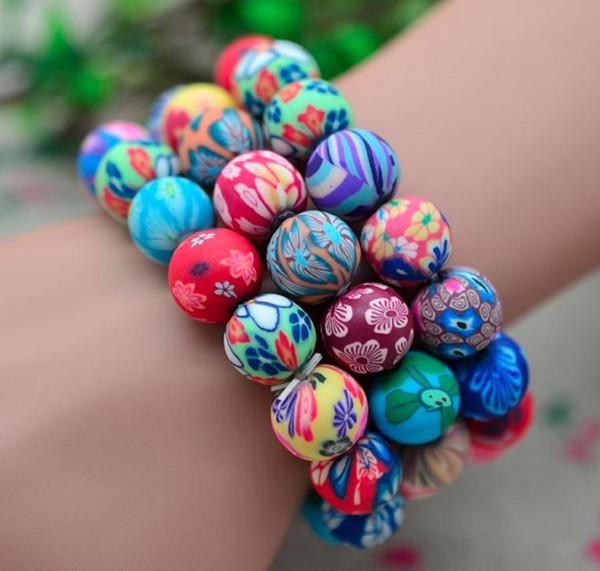Moda pulseiras de argila do polímero frete grátis, atacado 20 pcs boêmio frisado pulseiras, presente do miúdo