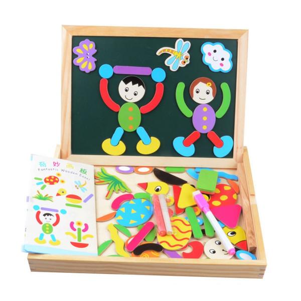 Großhandel-Multifunktionale Holzspielzeug Pädagogische Magnetische Puzzle Figur Statue Kinder Kinder Puzzle Baby Zeichnung Staffelei Bord