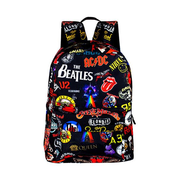 Rock Band The Beatles / Acdc / Iron Maiden Zaini per ragazze Ragazzi Zaino Borse da scuola per adolescenti Donna Uomo Zaino carino