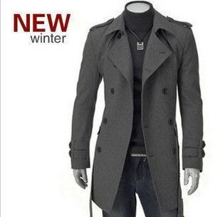 best selling Wholesale- Mens Classic Casual Wool Jackets Pea Coat Winter Warm Trench Overcoat Outwear Double breasted Woolen coat mens