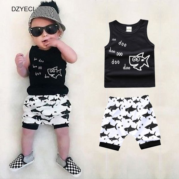 Cute Fish Set For Baby Boy Outfits Summer Kid Tracksuit Sleeveless Vest Top+Shorts Pant 2PC Suit Newborn Outfits Costume