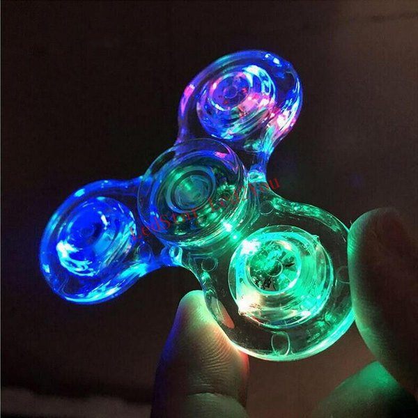New Led Fid Spinner Luminous Glitter Jelly Crystal Tri Colorful