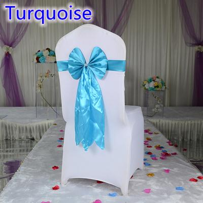 Turquoise color chair sash long tail butterfly style wedding chair decoration luxury chair bow tie wholesale lycra spandex sash