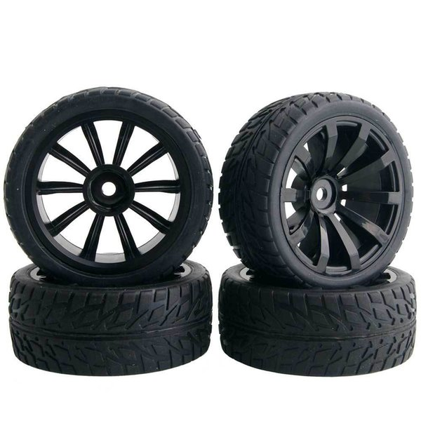 4pcs RC HSP 601-6089 Rubber Racing Tires & Wheel Rim For 1:10 Model On-Road Car