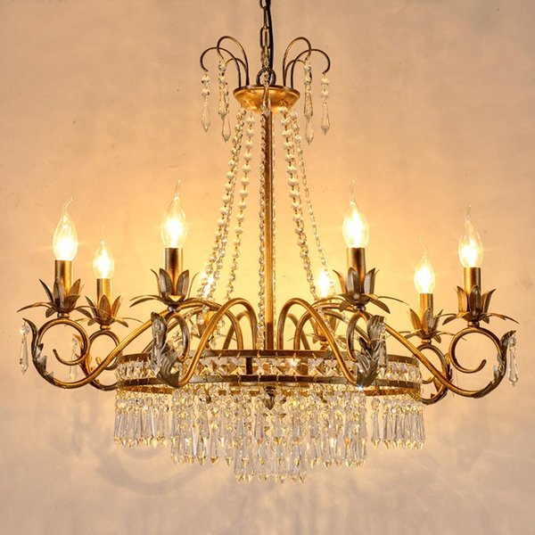 European style Iron Chandelier home crystal chandelier American living room restaurant candle lights French bedroom bar retro crystal lamps