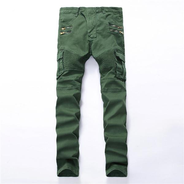 All'ingrosso-2017 moda uomo tasca buco strappato jeans Casual cerniera patchwork slim dritto verde scuro pantaloni denim hip-hop Pantaloni lunghi