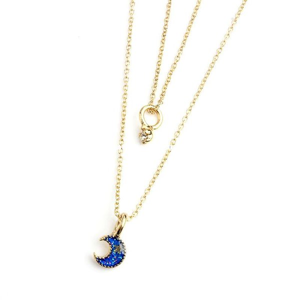 Catena di moda Layer Moon Star Planet Collana ciondolo Donna in oro placcato in lega di zinco di cristallo amante gioielli stile OL regalo del partito