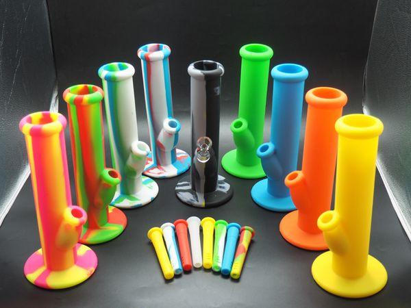 MOQ = 1pcs riche couleur silicone droite bang 10 '' Portable incassable Bongs Shisha Narguilé Silicone Fumer De L'eau Pipes Bong Livraison Gratuite