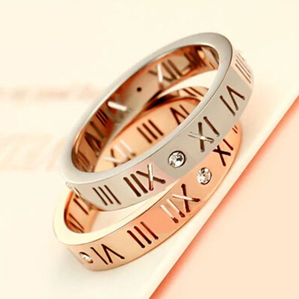 2017 Fashion Brand Rose Gold Color Titanium Steel crystal Hollow Roman Numerals Love ring women Gift