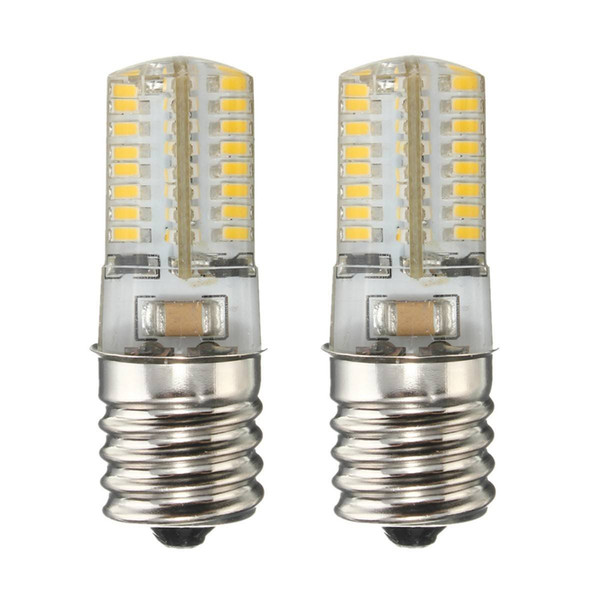 Microwave Oven LED light bulb E17 4W intermediate freezer Silicone Crystal Lights Low Power 64-3014 SMD White/Warm AC 110V/220V (Pack of 2)
