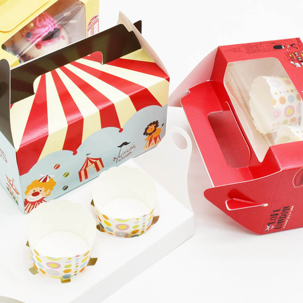 500pcs 14.7x16.5x9.3cm London circus cupcake boxes with window kraft paper box handle Boxes Dessert Portable Package 2 Cup Cake Holders