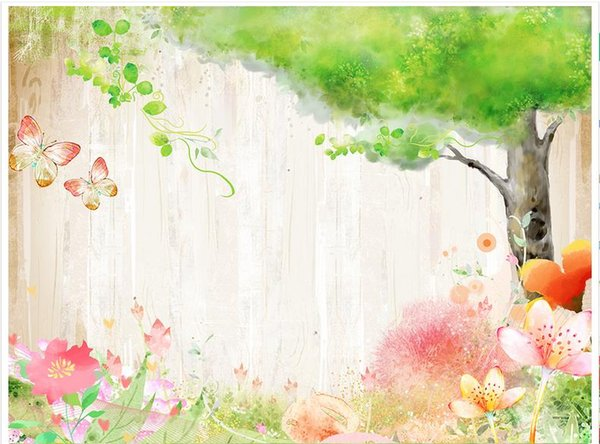 3D photo wallpaper custom size mural non-woven wallFlowers from the butterflies and green trees 3D Mural wallpaper Free shipping