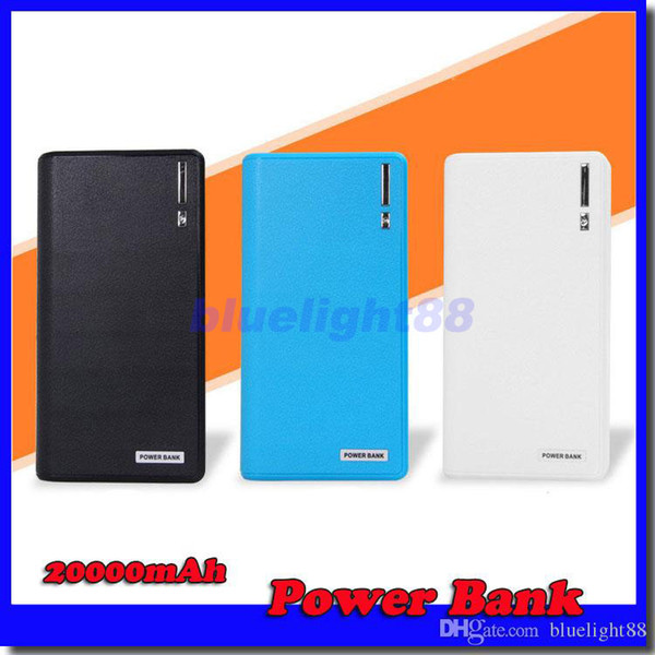 best selling 20000mAh Power Bank 2 USB Port Charger External Backup Battery With Retail Box For iPhone iPad Samsung Mobile Phone
