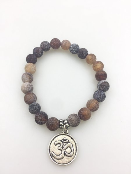 mxr0293 8MM weathering agate bracelet mala bracelet Fashion bracelets beads weathering agate beads 3D coin pendant yoga bracelets