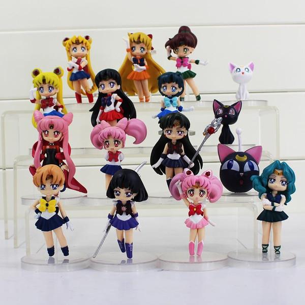 16Styles Sailor Moon Figures Tsukino Usagi Sailor Mars Mercury Jupiter Venus Saturn Figure Toys PVC figures Free Shipping