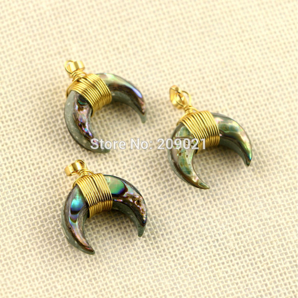 Lovely ~ 10Pcs Gold Plated Wire Wrap Paua Abalone Shell Crescent Moon Charms Pendants Jewelry Finding