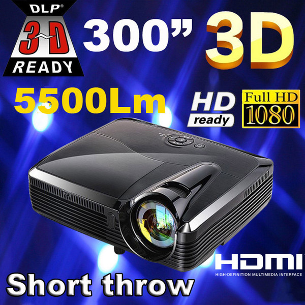 Wholesale-Best Full HD 5500 lumens XGA DLP Short throw holographic film Projector/projektor/projetor/proyector for school education office