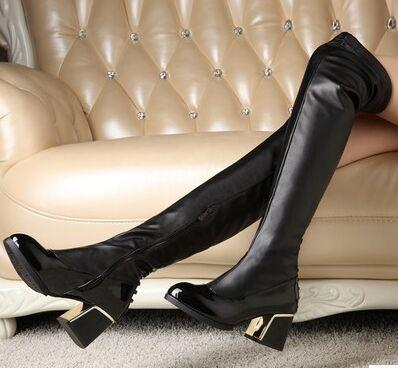 Black New Arrival Hot Sale Specials Super Fashion Influx Cheap Knight Leather Leg Stretch Noble Thick Large Size Heels Knee Boots EU34-43