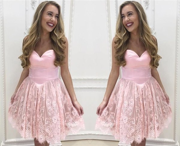 Simple Stain Lace Homecoming Dresses Sweetheart Sleeveless Short prom party gown 2017 New junior dresses for Gown