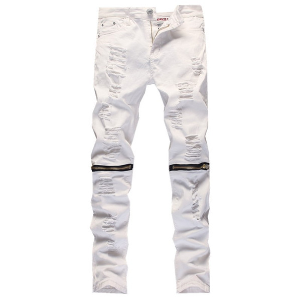 Wholesale-2016 New Male Jeans White Ripped Knee Hole Club Jeans Men Brand Slim Fit Cut Destroyed Torn Jean Pants For Male Homme