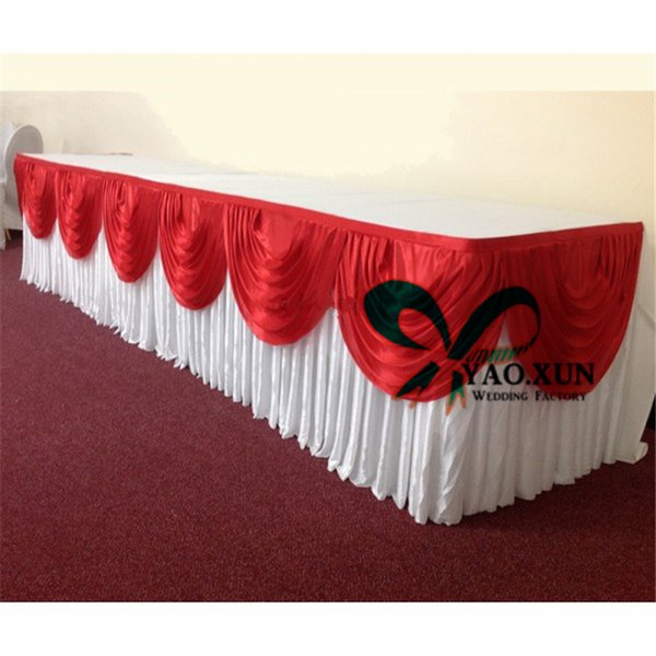 top popular Good Looking White Color Ice Silk Table Skirt With Colorful Swags For Wedding Decoration 2020