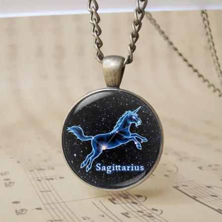 Retro 3d Sagitario Signo Colgante Collar Redondo de Bronce Símbolo del Zodiaco Cadena de Cristal Joyería Constelación Horóscopo Amuleto Regalo de Cumpleaños T1071