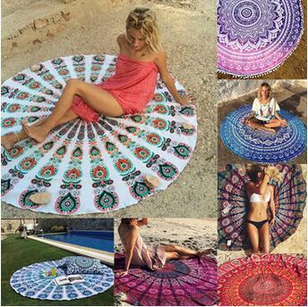 Rodada Mandala Toalha De Praia Tapeçaria Toalha De Mesa Hippie Boho Bohemian Serviette Capa Praia Xaile Envoltório Yoga Yoga Picnic Mat CCA5653 10 pcs