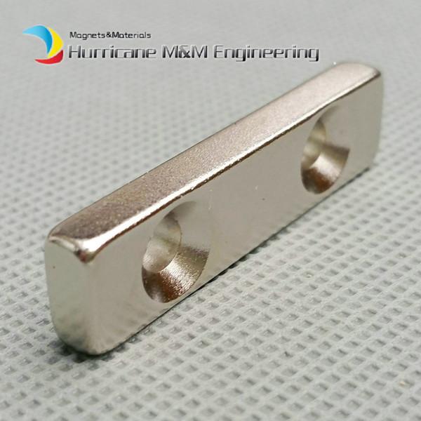 50pcs NdFeB Fix Magnet 40x15x10mm with 2 M4 Screw Countersunk Holes Block N42 Neodymium Rare Earth Permanent Magnet