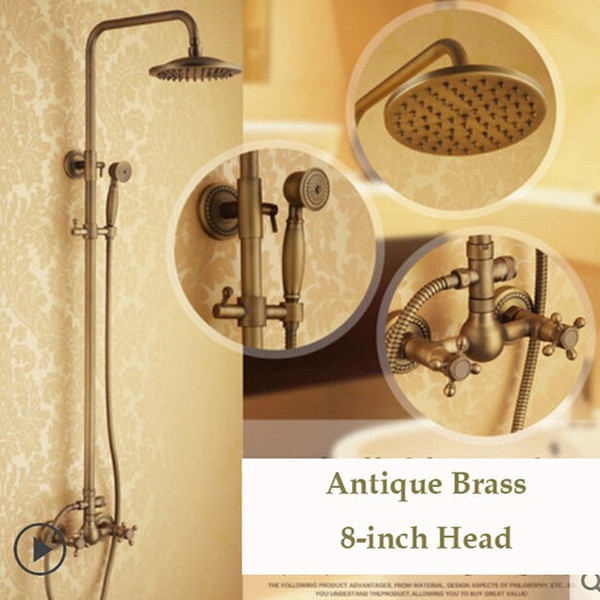 "best selling Dual Cross Handles Wall Mount Rainfall Shower Faucet Sets 8"" Brass Shower Head + Handheld Shower Antique Brass Finish"