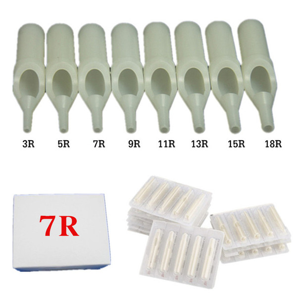 Al por mayor-50PCS Tamaño redondo 7 Disposable Blanco corto punta de tatuaje Punta de la boquilla de suministro --002W-7RT