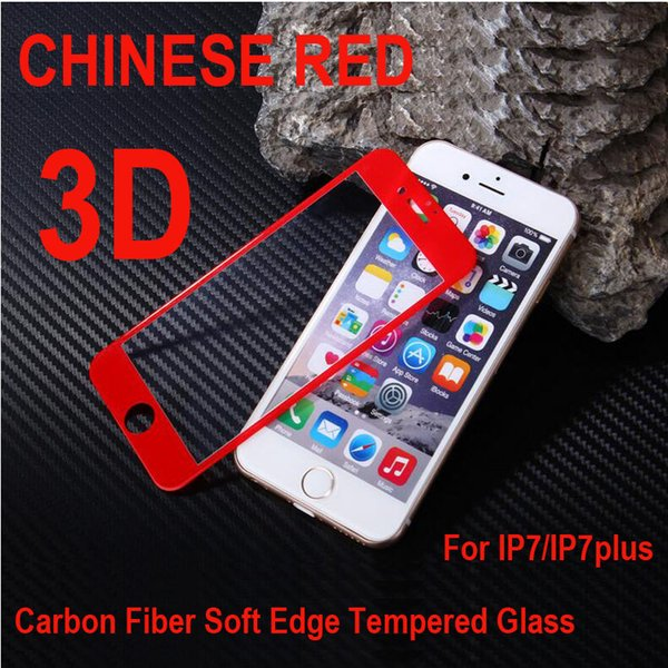 New Chinese Red 3D Carbon fiber soft edge Tempered Glass for iPhone7, Tempered Screen Protector for iPhone7Plus,With OPP Bag