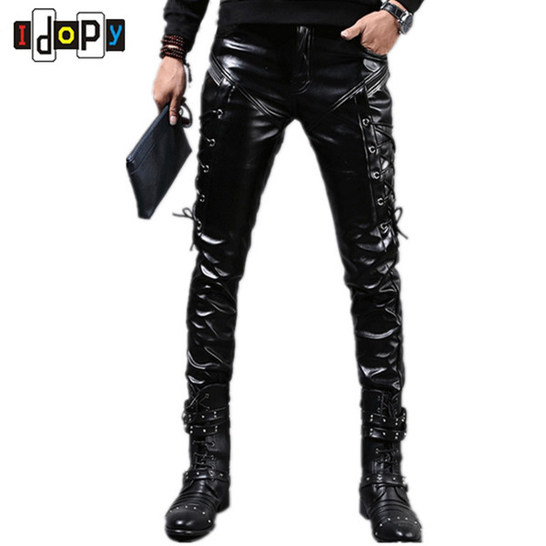 Wholesale- Fashion Autumn&Winter Mens Skinny Leather Pants Faux Black Joggers Pants Motorcycle Trousers For Men With Strings