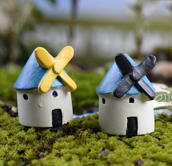5 pcs casa moinho de vento miniaturas para terrários resina artesanato jardim decoração castelo bonsai figurinhas ornamento casa de bonecas decoração da sua casa