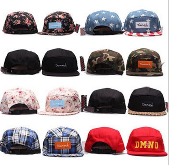 2017 Diamant 5 panneau Snapback Hat hommes femmes adolescents coton boule casquette strapback hip hop visière chapeaux réglable coloré fête cadeau
