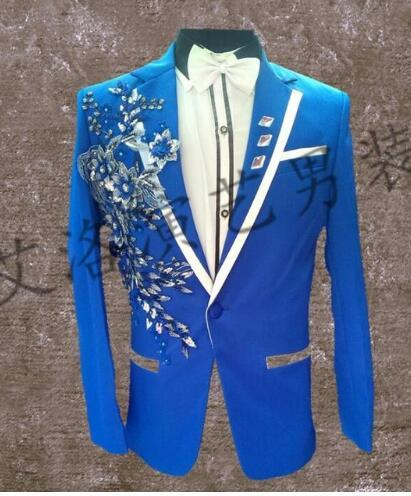 men suits designs blue homme terno stage costumes for singers men sequin blazer dance clothes jacket star style dress punk