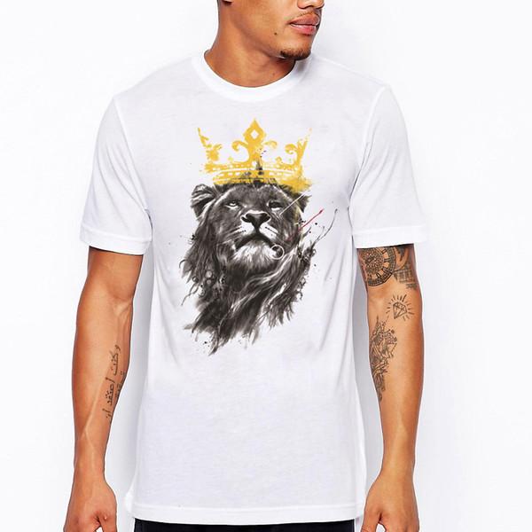 Men 's último 2018 moda manga curta rei de leão impresso t-shirt engraçado camisetas Hipster O-pescoço legal tops