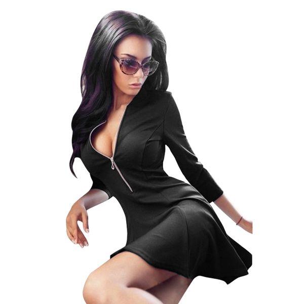 New Fashion Ladies Deep V Neck Zipper Stretch Bodycon Dress Women Sexy Night Club Wear Bandage Mini Party Dresses